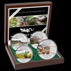 Congo - 4 x 30 Francs - Magnificent Reptiles 2013 - 4 silver coins with noble box and certificate