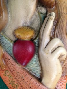 Ceramic Sculpture of the Sacred Heart of Jesus - Hand painted c.a 1950