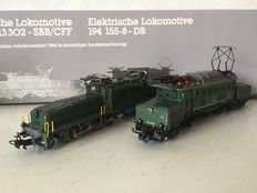 Märklin H0 - 3300 - Set of 2 heavy Swiss and German Crocodiles: Be 6/8 III of the SBB/CFF and BR 194  of the DB. Jubilee edition for the 125 year existence of  Märklin