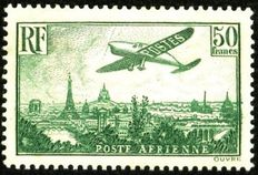 1936 France - airmail, 50F, yellow-green, signed Calves with numbered certificate - Yvert n° 14