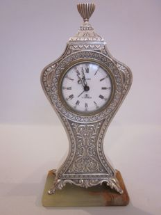Swiza  – table clock in .800 silver – first half of the 20th Century