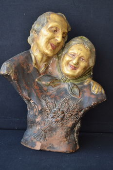 Ancients couple - terracotta Portugal - early 20th century
