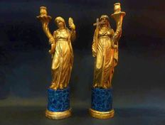 Allegory of Faith and Charity carved in lacquered wood and gilded in gold leaf, Genoa - early 19th century
