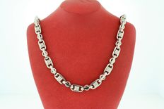 18kt karat white gold necklace bullet style link -weight: 58.6 grams length:20 inches