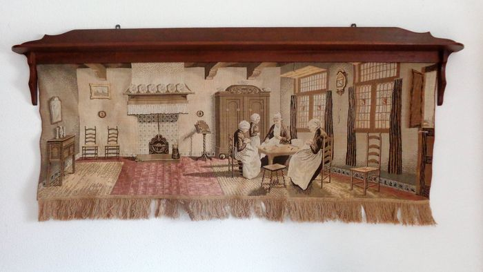 Large, machine woven, tapestry depicting a Dutch scene, early 20th century