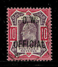 Great Britain Edward VII 1902/1903 – 10 pence dull purple & carmine Office of Works – Stanley Gibbons O40