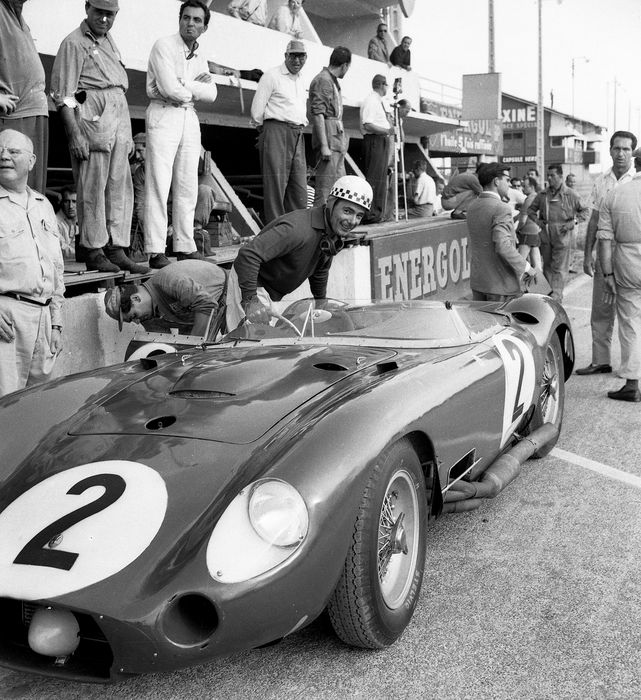 1957 Le Mans 24 hour Maserati 450 Driver Behra black and white photograph.