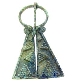Medieval period Bronze Penannular Brooch with Decorated Terminals - 62 mm