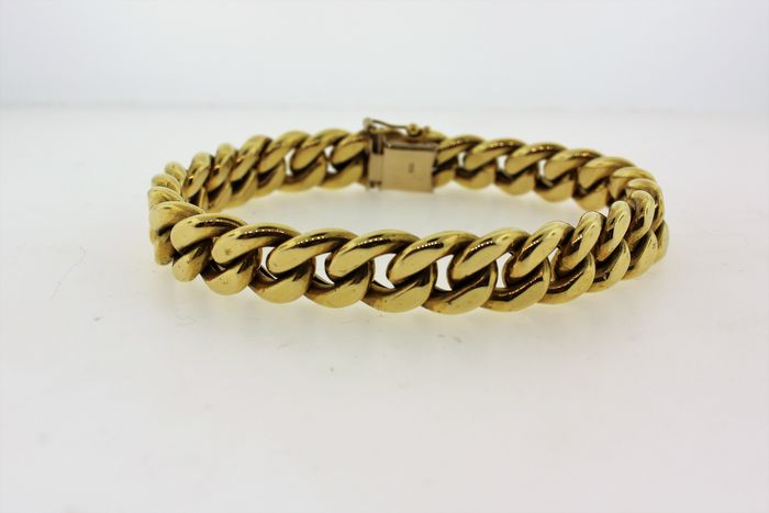 Semi hollow cuban link in 18kt gold - length: 8.5 inches