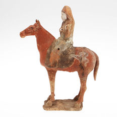 A Chinese Figure in terracotta - horse with rider - c.33 cm High