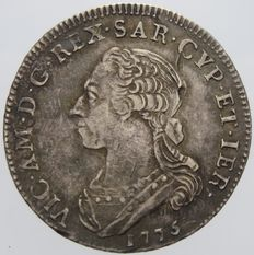 Kingdom of Sardinia, Quarter Scudo, 1775, Vittorio Amedeo III, silver