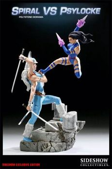 Spiral vs Psylocke - Statue (polystone diorama) - Sideshow exclusive edition + Original drawing of Psylocke by Randy Kintz