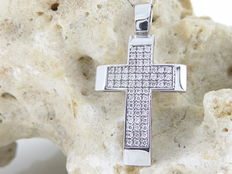 14 kt white gold cross pendant with diamonds, 0.50 ct – *** No reserve price ***