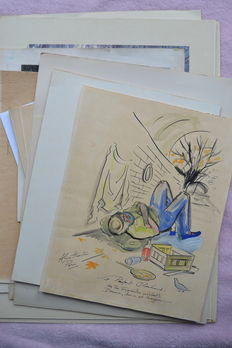 Lot of 24 prints, engravings and drawings - 19th and 20th century