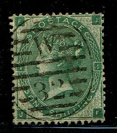Great Britain 1862/1864 – Queen Victoria – 1 shilling deep green, Stanley Gibbons 89