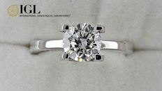 IGL 1.10 ct round diamond ring in white 14 k gold - size 6 ***No Reserve Price***