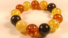 Baltic Amber round beads bracelet mix colours stones, No Reserve, 36 grams