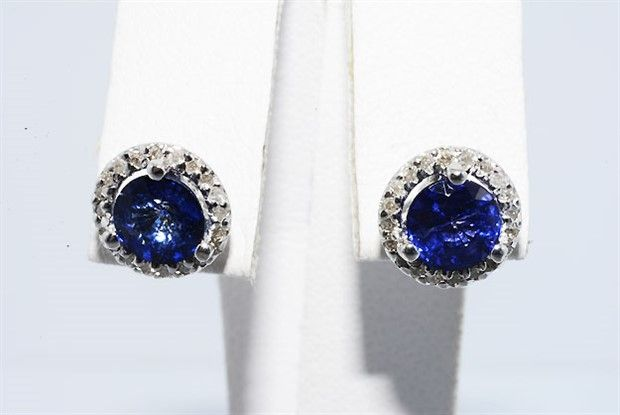 2.19 ct sapphire & diamond earrings 14k