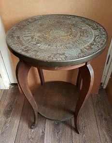 Antique smoking/side table with copper table top, early 20th century
