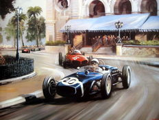 "Fine Art Print  - ""My Favourite Race"" Stirling Moss Monaco Grand Prix 1961/Lotus #20"