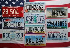 10 USA license plates number plates registration plates