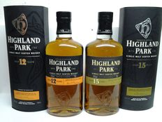 2 bottles - Highland Park 12 & 15 Years Old.