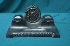 Silver Tin Inkwell with coat of arms