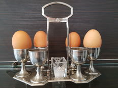 Six person Art Deco egg set, (nickel plated?) metal, with glass salt holder. Around 1920