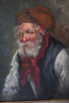 Attributed to Luca Albino (1884-1952) fisherman with pipe