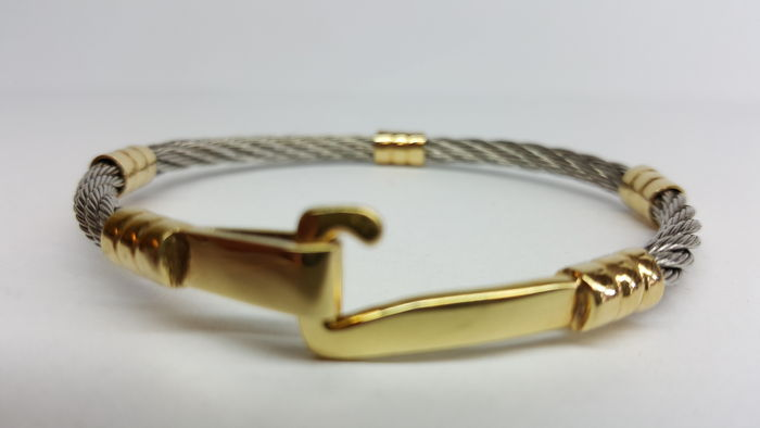 Steel bracelet with 14 kt yellow gold accents / diameter approx. 6.5 cm
