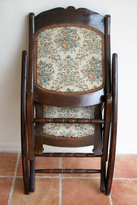 Small Wooden Folding Rocking Chair, Hand Made, Upholstered In Tapestry  Fabric.