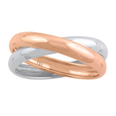 white and pink 18Kt. gold cross-over wedding band, size N/54, 3.85mm width