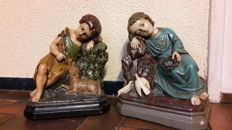 Jesus and St. Elizabeth - set of old plaster statues - 1st half 20th century