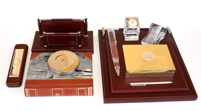 Desk Set Accessories (9 pieces) with: Leather, Crystal, Brass, Silver Plated and one Silver pen.