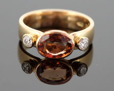 14K Yellow Gold Ladies Ring With Garnet and Diamonds 0.20 CT Total - size 56 1/4