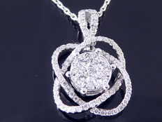 Pendant set with 89 brilliant cut diamonds, 0.70 ct in total.