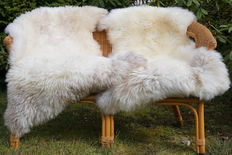 Unique pieces - two very soft, thick - nature white sheepskins/lambskins