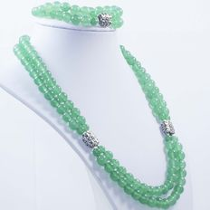 Silver (925/1,000) and green jade two-strand set