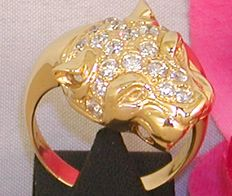 Diamond cocktail panther ring 2,80ct. // 18K 750 yellow gold // ring size BE 62 / 19,75mm // free adjustment of ring up to size 80