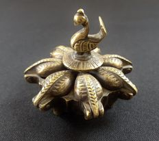 Brass 7 Compartment Peacock Tika Box - India - mid. 20th century