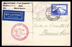German Reich 1930 - airship Grap Zeppelin 1st South America flight LZ 127 with 2 RM zeppelin stamps, to Buenos Aires via Rio de Janeiro - Michel 423