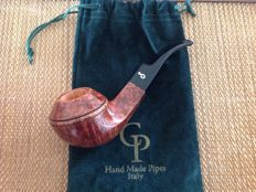 "New, unsmoked CP pipe ""TROUT"",  great bent bulldog, 9 mm filters,  fantastic straight grained briar, hand made, Italy !!"