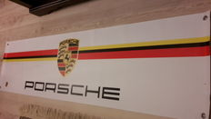 Original Porsche banner with Porsche metal emblem - 1998