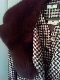 Real fox fur stole with coat and jacket set - 3 pieces