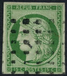 France 1849 – Cérès 15c green, cancelled withlarge dots, signed Calves, Brun and Roumet – Yvert no. 2.