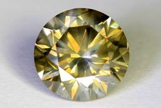 Natural fancy diamond - 1.84 ct - Grey-yellow - Brilliant cut - SI1