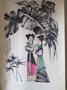 A Hand-painted scroll painting - China - 2nd half 20th century