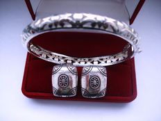 Vintage 1970s – Marked - Sterling silver Set = Filigree Bangle Bracelet + Clip-on Earrings