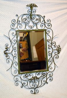 Old antique wrought iron mirror, richly decorated, Liberty style, Italy early 1900s