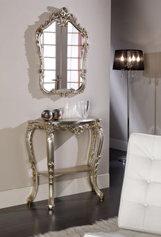 Venetian console side table with carved crest mirror - hand-gilded - silver-coloured